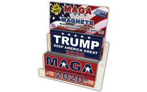 Trump sticker display