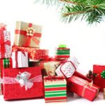 Red, green and gold wrapped holiday gifts