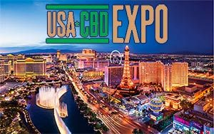 USDA CBD Expo logo over night shot of Las Vegas