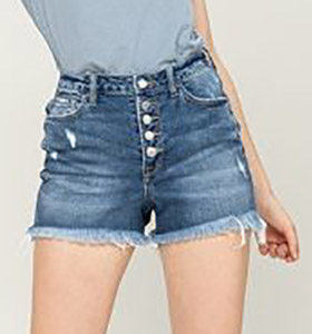High Rise Button-Up Frayed Hem Shorts