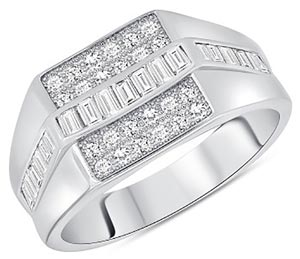 Silver Cubic Zirconia Mens Ring