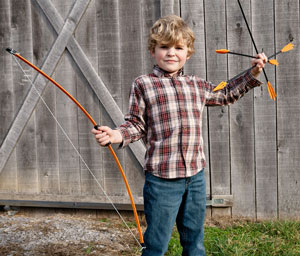 kid with bow and arrows