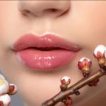 Attractive lips and willow branch